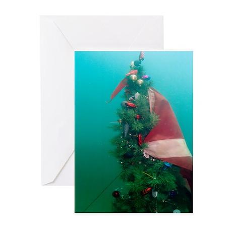 Christmas Tree Scuba Flag Greeting Cards (Pk of 10
