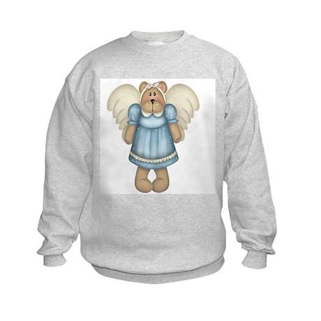 Blue Bear Angel Kids Sweatshirt