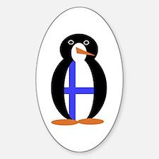 Penguin Flag Finland Sticker (Oval)