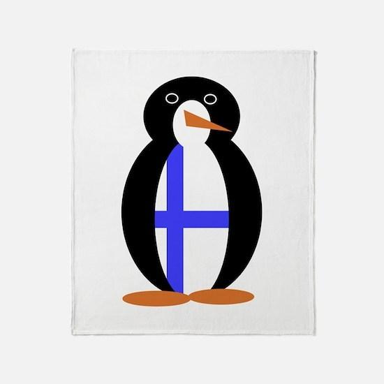 Penguin Flag Finland Throw Blanket