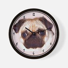 Pug Art Wall Clock - Fawn