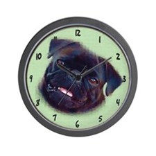 Pug Art Wall Clock - Black Pug