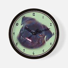 Pug Art Wall Clock - Black Pug