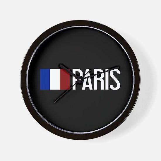 France: French Flag & Paris Wall Clock