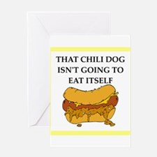 chili dog Greeting Cards