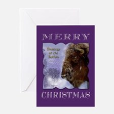 Buffalo in Winter Christmas Greeting Card