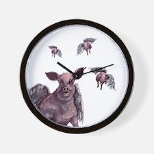 flying piggie wall clock