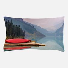 Mountain Lake Red Canoe Peaceful Landscape Pillow