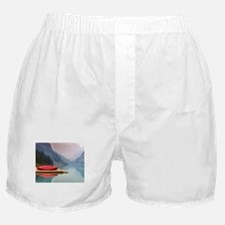 Mountain Lake Red Canoe Peaceful Landscape Boxer S