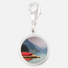 Mountain Lake Red Canoe Peaceful Landscape Charms