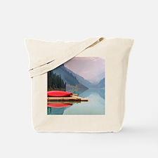 Mountain Lake Red Canoe Peaceful Landscape Tote Ba