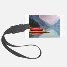 Mountain Lake Red Canoe Peaceful Landscape Luggage Tag