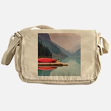 Mountain Lake Red Canoe Peaceful Landscape Messeng