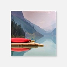 Mountain Lake Red Canoe Peaceful Landscape Sticker