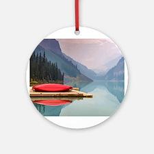 Mountain Lake Red Canoe Peaceful Landscape Round O
