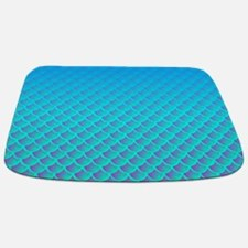 Mermaid Pattern In Aqua Blue and Purple Bathmat