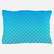 Mermaid Pattern In Aqua Blue and Purple Pillow Cas