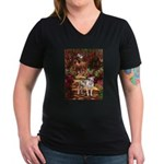Path / Pitbull Women's V-Neck Dark T-Shirt