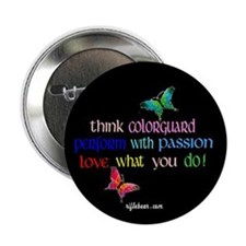 """Think Colorguard Butterflies 2.25"""" Button"""