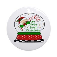 Very First Christmas Snowglobe Ornament (Round)