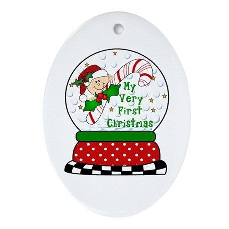 Very First Christmas Snowglobe Oval Ornament