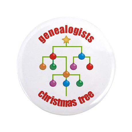 "Genealogists Christmas Tree 3.5"" Button"