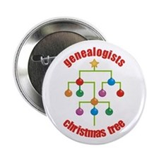 "Genealogists Christmas Tree 2.25"" Button"