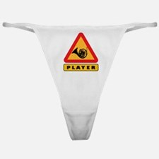 French Horn Player Caution Sign Classic Thong