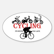 Cycling Cyclists Oval Decal