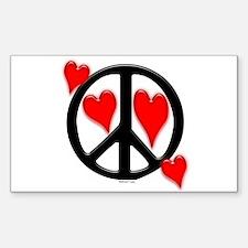 Peace & Love Rectangle Decal