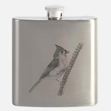 Cute Tufted titmouse Flask