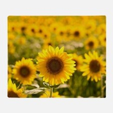 Cute Sunflower field Throw Blanket