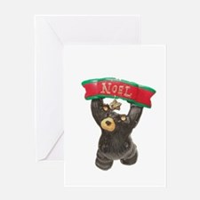 NOEL BEAR WITH BANNER Greeting Card