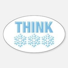 Think Snow Blue Oval Decal