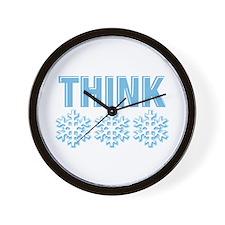 Think Snow Blue Wall Clock