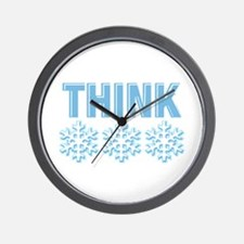 Think Snow Blue Wall Clock