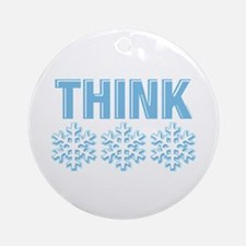 Think Snow Blue Christmas Ornament (Round)
