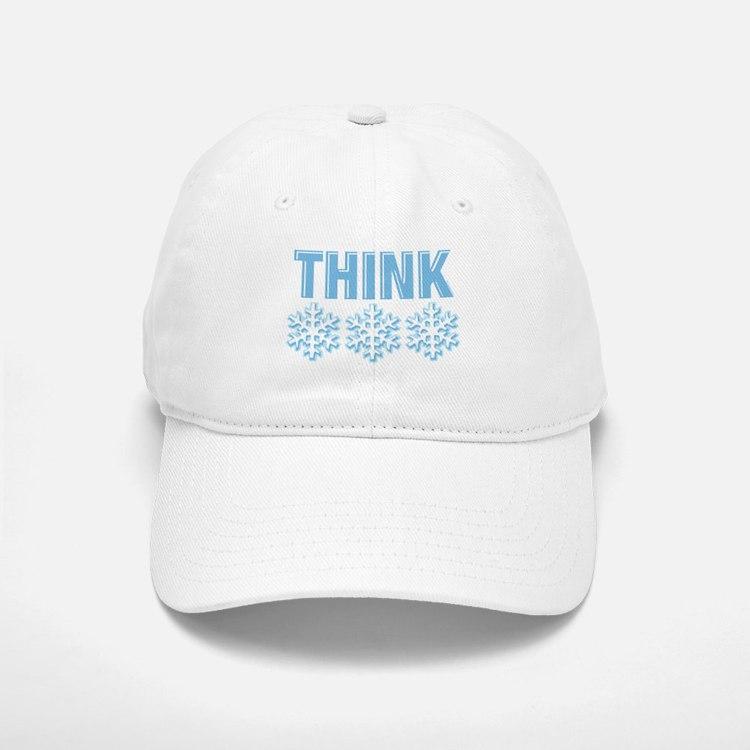 Think Snow Blue Baseball Baseball Cap