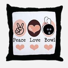 Peace Love Bowl Bowling Throw Pillow