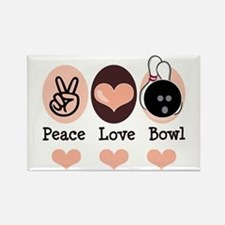 Peace Love Bowl Bowling Rectangle Magnet