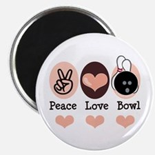 """Peace Love Bowl Bowling 2.25"""" Magnet (10 pack)"""