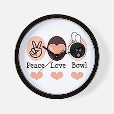 Peace Love Bowl Bowling Wall Clock