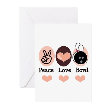 Peace Love Bowl Bowling Greeting Cards (Pk of 20)