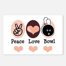 Peace Love Bowl Bowling Postcards (Package of 8)