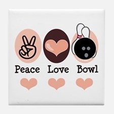 Peace Love Bowl Bowling Tile Coaster