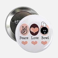 "Peace Love Bowl Bowling 2.25"" Button"