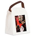 Lady..2 Poodles (ST) Canvas Lunch Bag