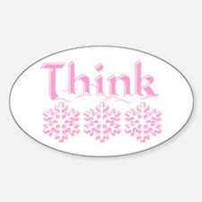 Think Snow Pink Oval Decal