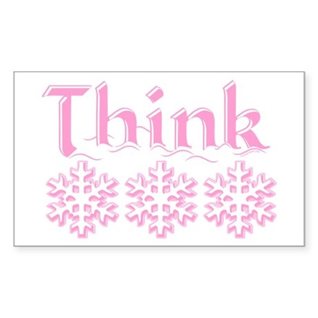Think Snow Pink Rectangle Sticker