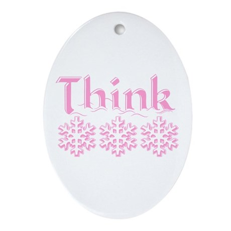 Think Snow Pink Keepsake (Oval)